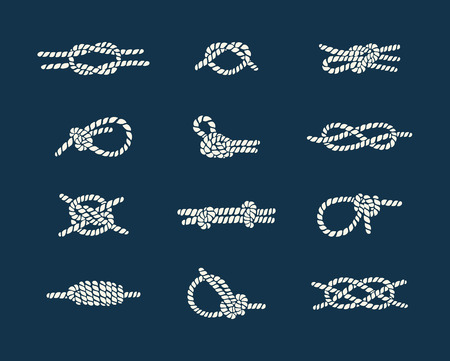 Vintage illustrations of white nautical rope knots over blue background Illustration