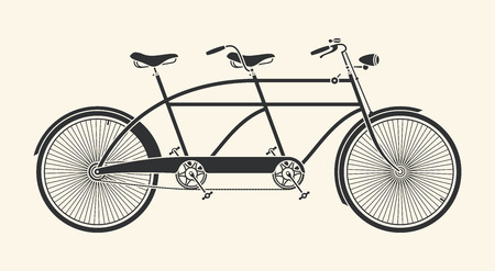 흰색 배경 위에 탠덤 자전거의 빈티지 그림 일러스트