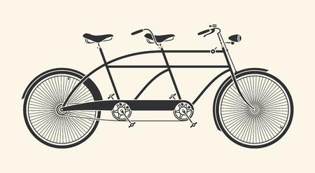 Vintage Illustratie van de tandem fiets over een witte achtergrond