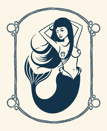 Vintage vector illustration of winking mermaid over white background Illustration