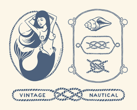 mermaid: Variety of nautical vintage illustration and decorative frames