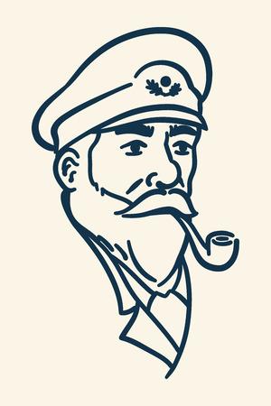 pijp roken: Bebaarde kapitein rokende pijp illustratie
