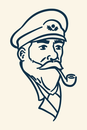 Bearded boat captain smoking pipe illustration Vectores