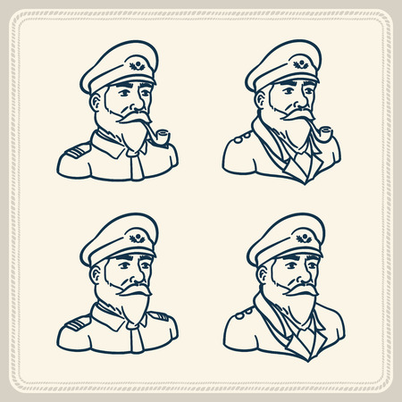 Illustrated bearded boat captain icons Vector