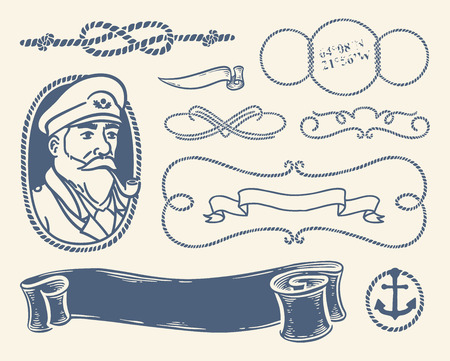 fisherman boat: Nautical decoration set over white background