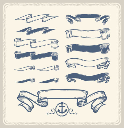 Nautical ribbons over white background