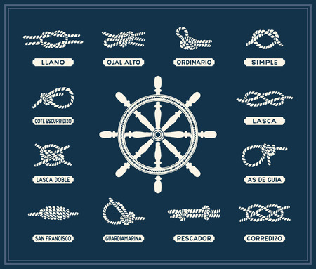 sailor: Nautical rope knots set