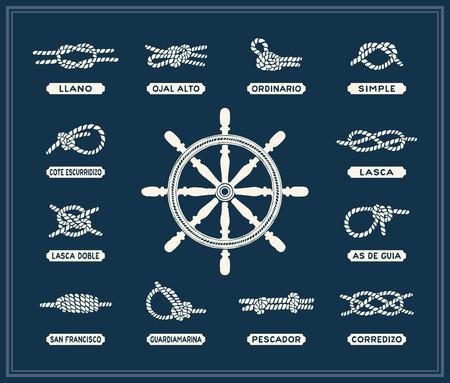 bateau voile: Noeuds de corde nautique mis