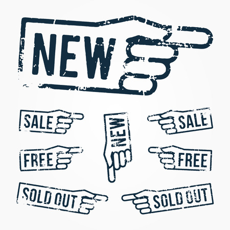 set pointing hand rubber stamps Illustration