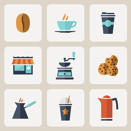 take away: Flat design coffee icons set
