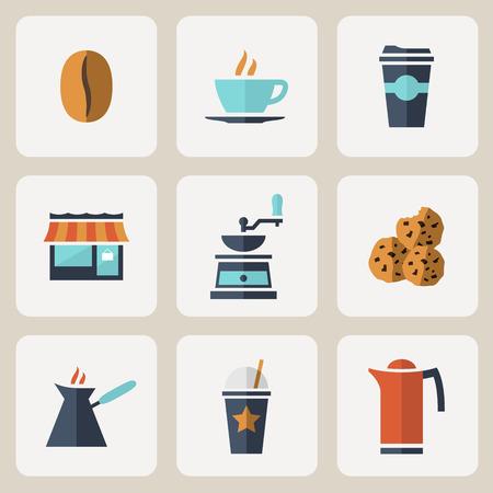 take away: Flat design coffee icons set