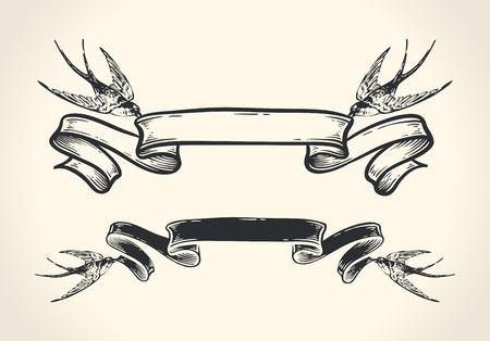 golondrinas: Ejemplo del vintage de los pájaros que sostiene la cinta