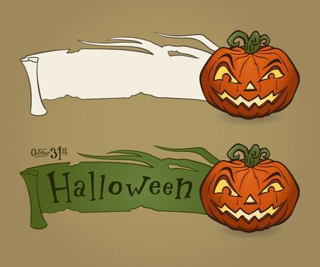 Vector illustration of Halloween pumpkin with ribbon Vector