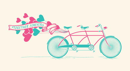 Together forever - vintage tandem bicycle with hearts balloons Çizim