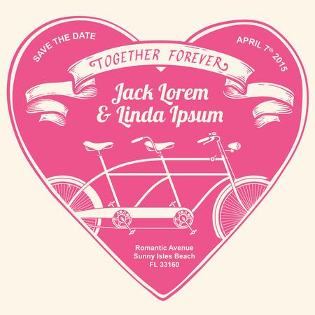 forever: Vintage wedding invitation together forever
