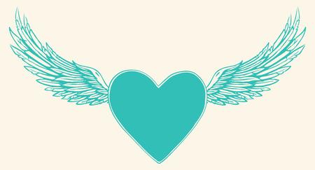 engel tattoo: Vektor-Illustration von geflügelten Herzen