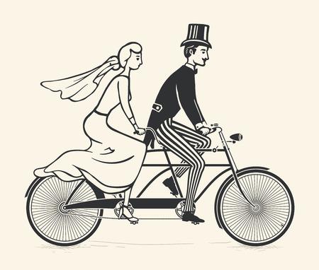 Bride and groom riding a vintage tandem bicycle Vector