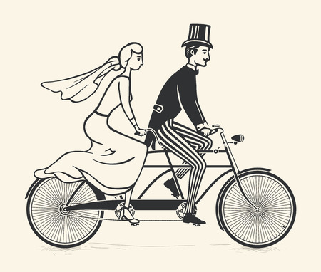 Bride and groom riding a vintage tandem bicycle Çizim