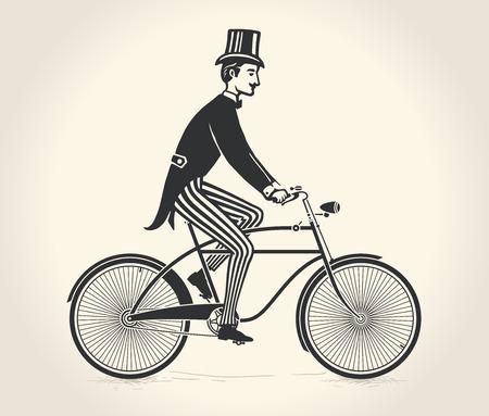 신사의 벡터 일러스트 레이 션 빈티지 자전거를 타고
