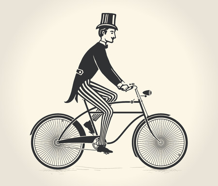 vintage dress: Vector illustration of gentleman ride a vintage bicycle