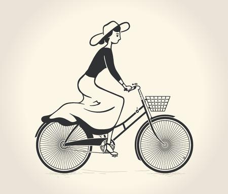 女性のベクトル イラスト ビンテージ自転車に乗る