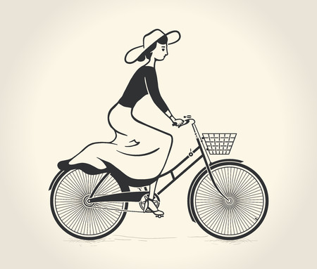 Vector illustration of lady ride a vintage bicycle Vectores