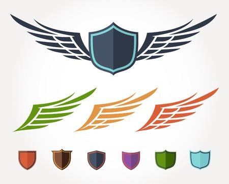 날개 무늬 플랫 디자인