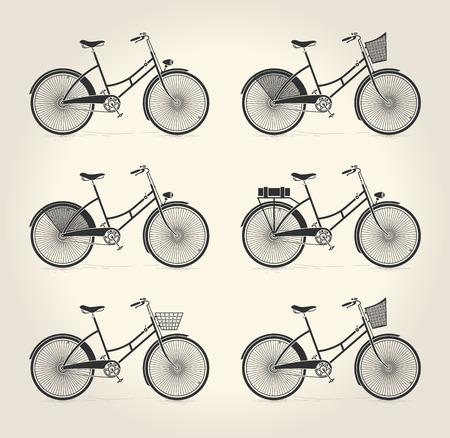 Vector illustratie van de dames vintage fiets Stock Illustratie