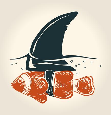 bluff: Poco pesce con grande idea Vettoriali