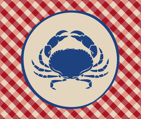 Vintage illustration of crab over Italian tablecloth background