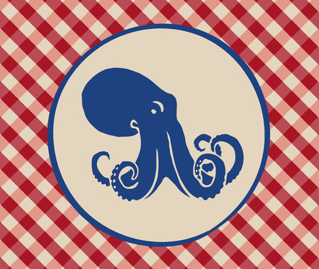 Vintage illustration of octopus over Italian tablecloth background