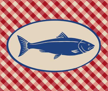 Vintage illustration of salmon over Italian tablecloth background