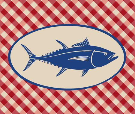 Vintage illustration of tuna fish over Italian tablecloth background