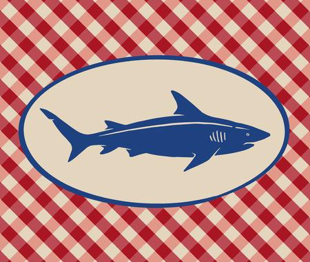 Vintage illustration of shark over Italian tablecloth background