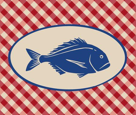 Vintage illustration of sea bream over Italian tablecloth background 일러스트