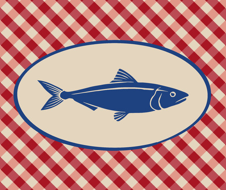 red and white: Vintage illustration of sardine over Italian tablecloth background Illustration