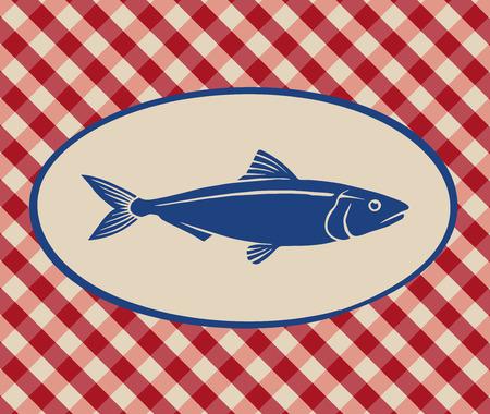 sardine: Vintage illustration of sardine over Italian tablecloth background Illustration