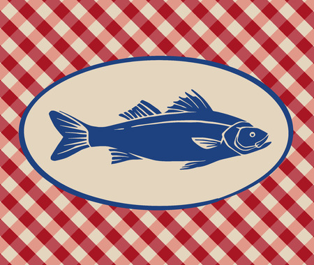 Vintage illustration of sea bass over Italian tablecloth background