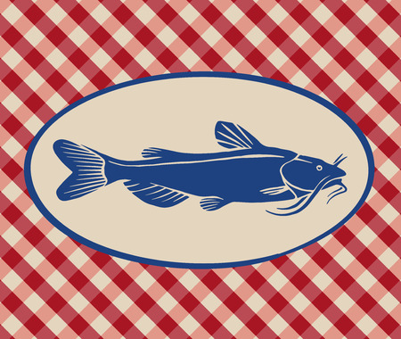 Vintage illustration of catfish over Italian tablecloth background Illustration