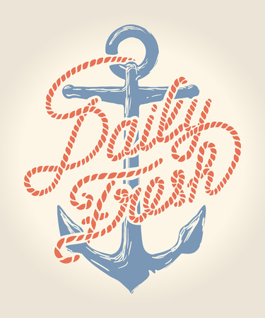 Daily fresh rope text over anchor illustration over white background with names