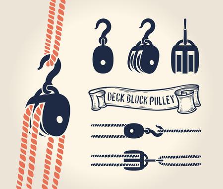 nudo: Ilustración vectorial de la vendimia de la polea bloque de la cubierta con una cuerda Foto de archivo
