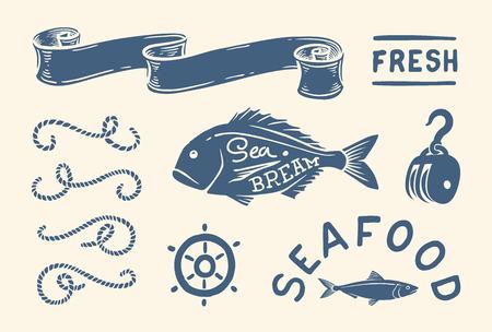�illustration: Variedad de ilustraciones y decoraciones de �poca n�uticas