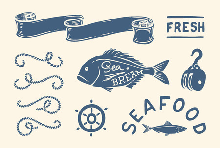 seafood background: Variety of nautical vintage illustrations and decorations