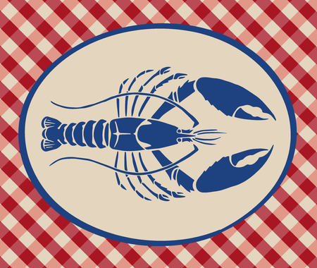 a tablecloth: Vintage illustration of lobster over Italian tablecloth background
