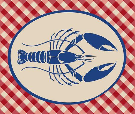 Vintage illustration of lobster over Italian tablecloth background