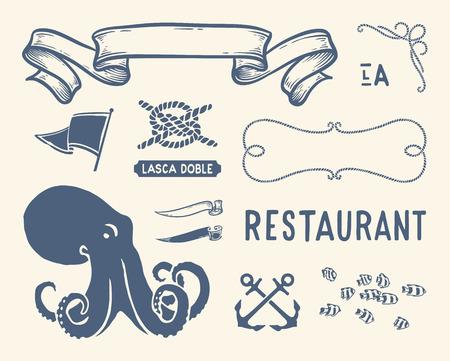 Verscheidenheid van nautische vintage illustraties en decoraties