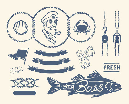 Variety of nautical vintage illustrations and decorations