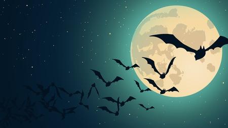 luna caricatura: Vector de fondo de Halloween con ilustración de murciélagos volando sobre la Luna