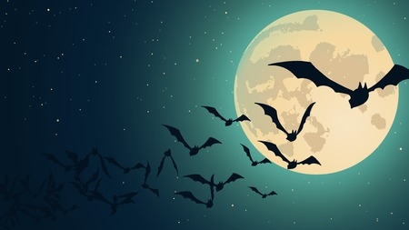 with spooky: Vector Halloween background with illustration of flying bats over moon