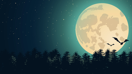 spook: Vector Halloween background with illustration of flying bats over moon